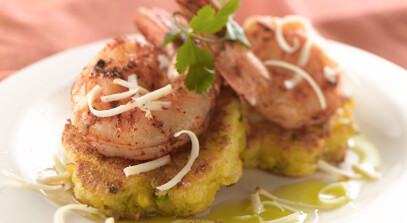 Arepas with Jalapeño Jack and Grilled Shrimp