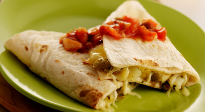 Green Chile, Asadero and Potato Quesadillas