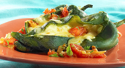 Cheese Stuffed Chiles in Red Sauce