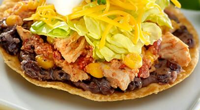 chipotle chicken and cheddar tostadas