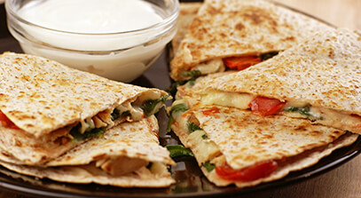 Chicken and Spinach Quesadillas with Queso Quesadilla Cheese