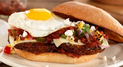 huevos rancheros black bean burger with pepper jack