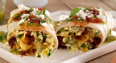 monterey jack and queso fresco chilaquiles burrito