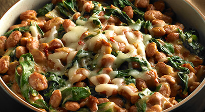 mexican beans, greens and pepper jack