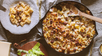 Apple, Sausage and Dijon Mac and Cheese