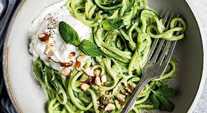 Pesto Zucchini Noodles with Burrata