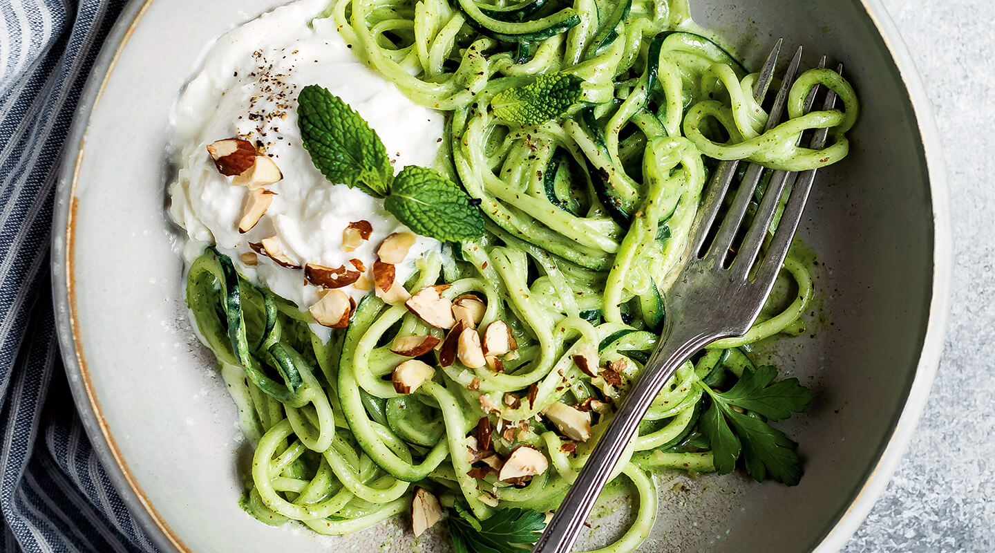 Wisconsin Cheese Pesto Zucchini Noodles with Burrata recipe