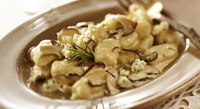 Gnocchi with Blue Cheese, Wild Mushrooms and Rosemary Madeira Cream