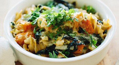Butternut and Kale Pasta with Fontina