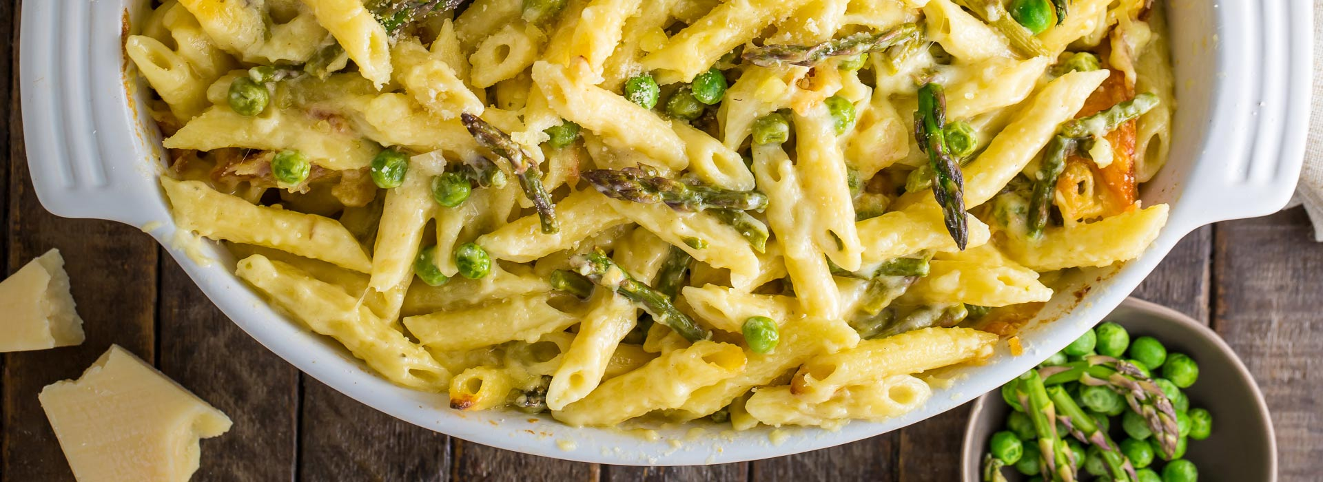 Alfredo Mac and Cheese with Asparagus and Spring Peas