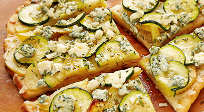zucchini and potato rosemary pizza