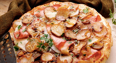 Classic Potato, Onion and Ham Pizza