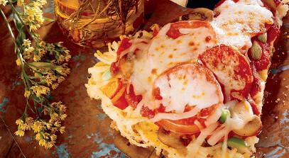 Three Cheese Pasta Pizza