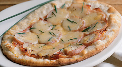 Raclette, Ham and Potato Pizza