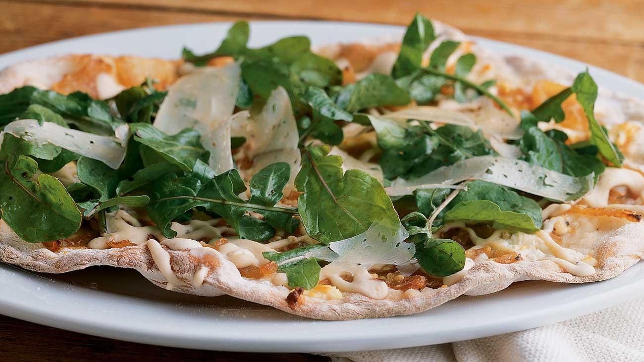 White Bean Hummus and Asiago Pizza