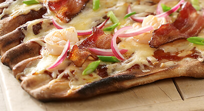 Barbeque Shrimp and Bacon Flatbread with Cheese