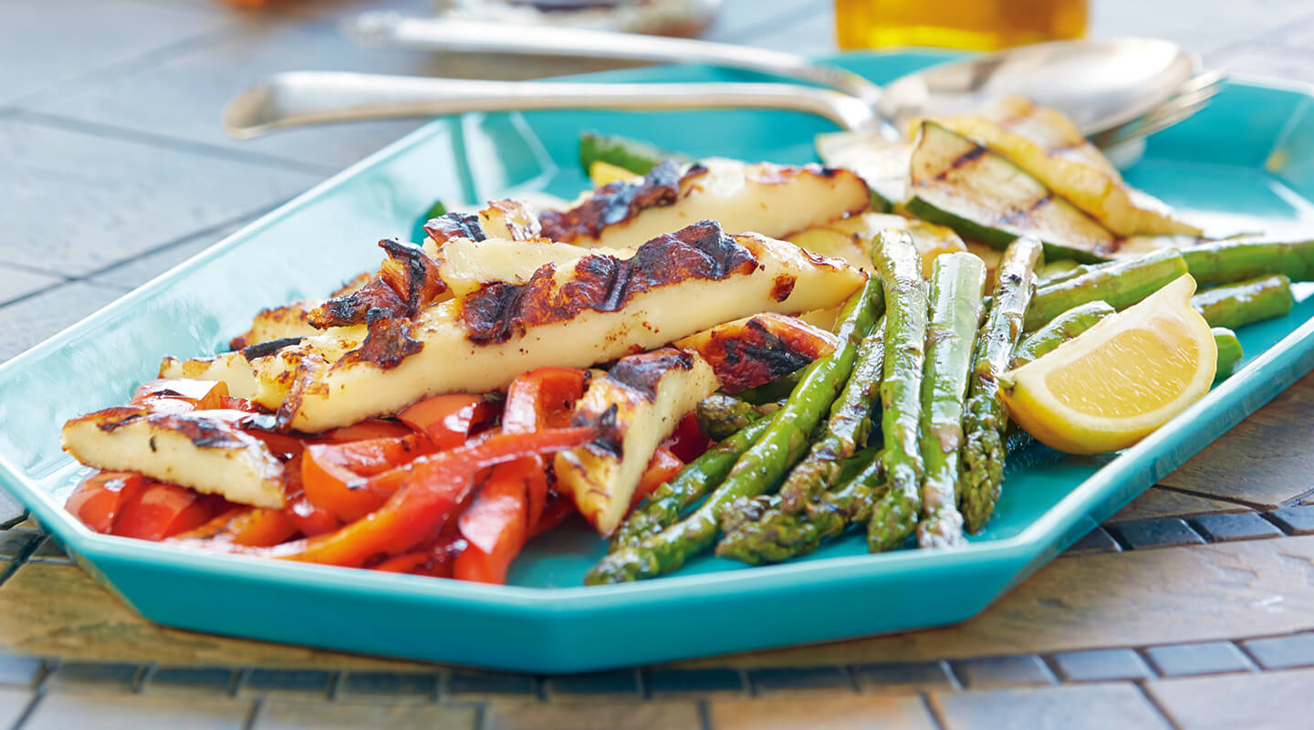 Grilled Juustoleipa and Vegetable Antipasto Platter