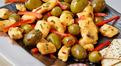 Green Olive and Cheese Curd Antipasto
