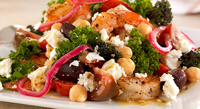Chickpea, Kale and Feta Salad with Peppered Shrimp
