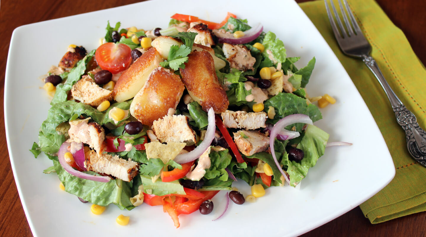 Wisconsin Cheese Chicken Taco Salad with Toasted Cheese Curds Recipe