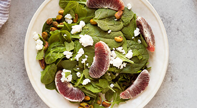 Mixed Greens Salad with Feta, Oranges, Mint and Pistachios
