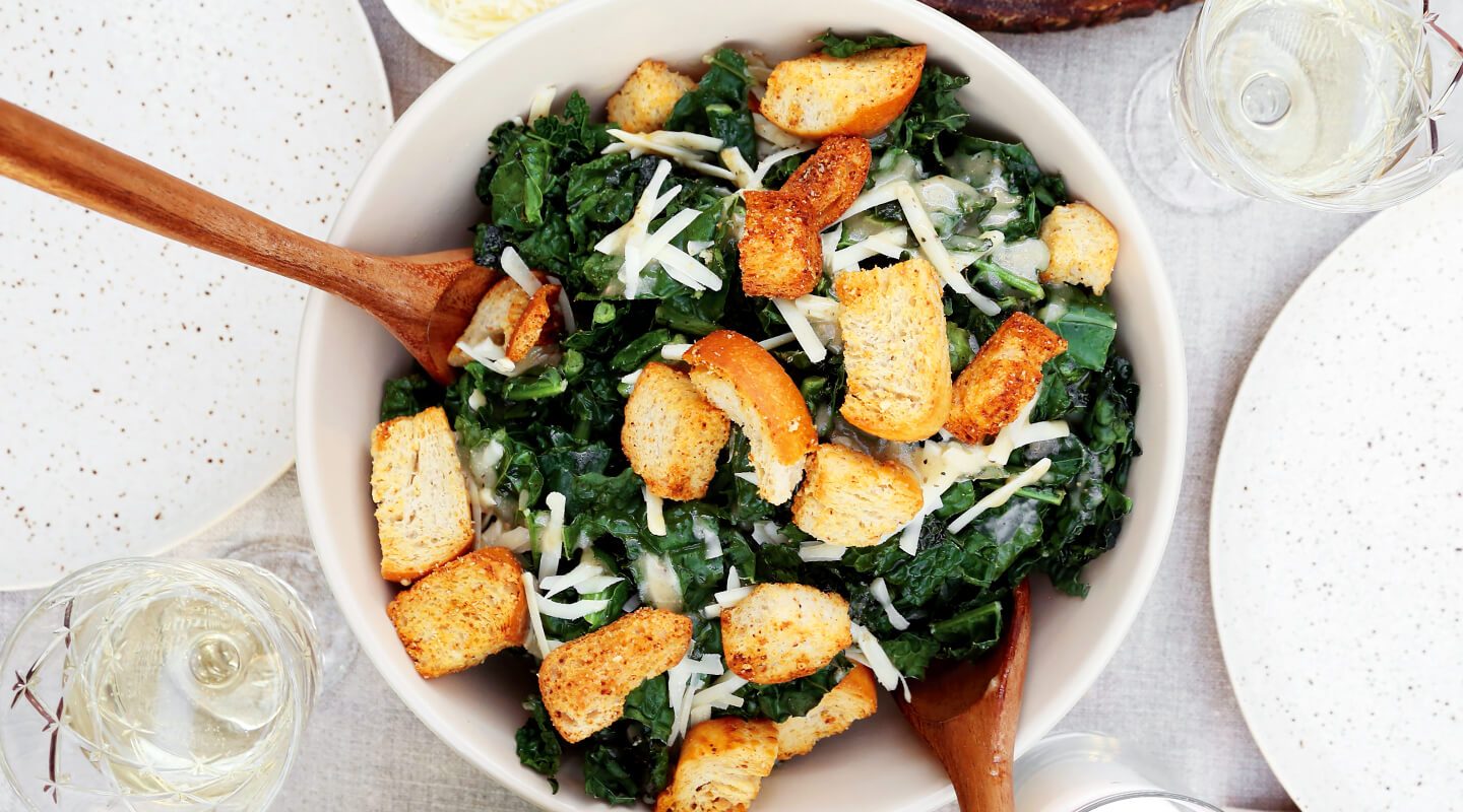 Wisconsin Cheese Crispy Kale Caesar Salad Recipe