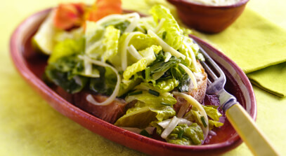 Romaine with Creamy Poblano Chile Dressing and Cotija Cheese