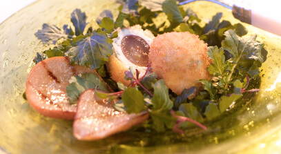 Arugula Salad with Gorgonzola Red Grape Fritters and Grilled Pear Conserve