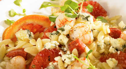 Gorgonzola Cheese Orzo Salad, with Blood Orange Vinaigrette, Calabrese Salami, Rock Shrimp and Baby Arugula
