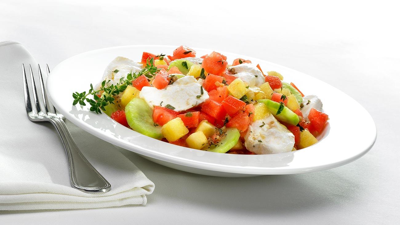 Watermelon, Tomato and Burrata Salad