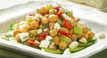 Garbanzo Beans with Feta and Sun-Dried Tomatoes
