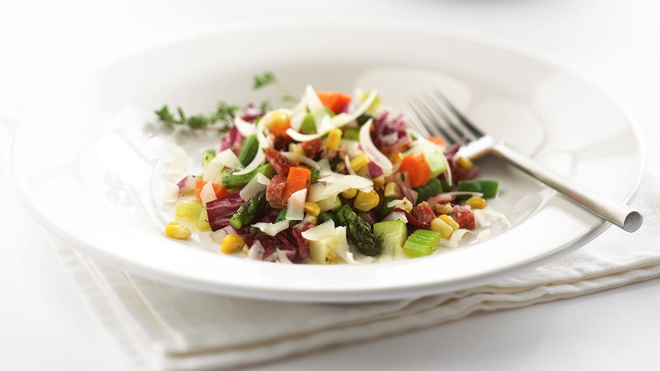 Chopped Vegetable Salad with Salami, Lemon-Thyme Vinaigrette and Parmesan Cheese