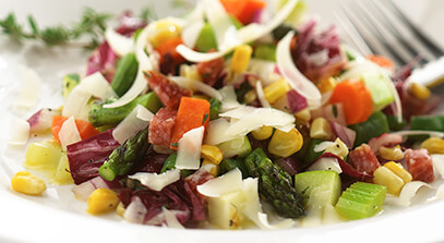 Chopped Vegetable Salad with Salami, Lemon-Thyme Vinaigrette and Parmesan Cheese