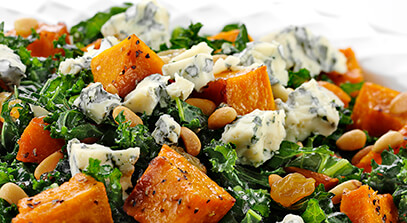 Kale, Kabocha and Gorgonzola Salad