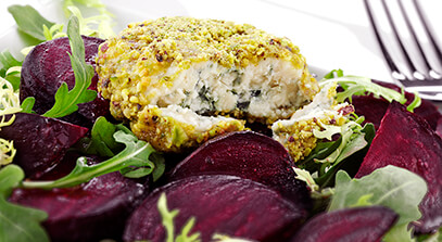 Warm Roasted Beet Salad with Pistachio-Encrusted Blue Cheese