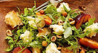 Grilled Plum and Bread Salad with Fresh Mozzarella Cheese