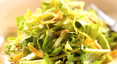 Shaved Brussels Sprouts and Aged Cheddar Apple Slaw