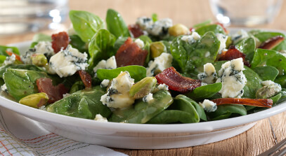 Warm Bacon, Date and Pistachio Spinach Salad with Blue Cheese