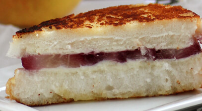 Poached Pear and Quark Grilled Cheese