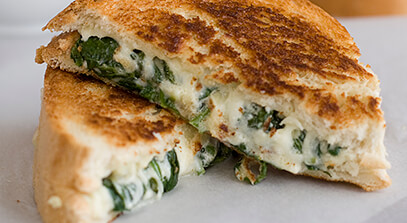 Spinach, Artichoke and Monterey Jack Grilled Cheese