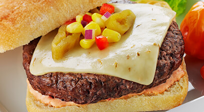 green chile burger with pepper jack cheese