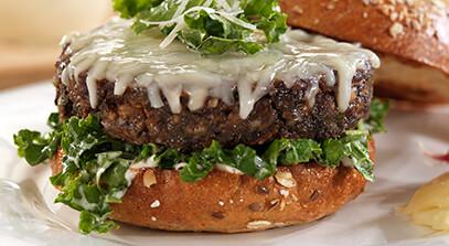 Asiago Veggie Burger with Kale Parmesan Caesar Salad