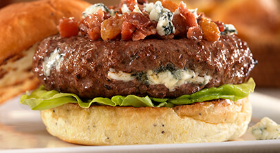 blue cheese burger with bacon walnut chutney
