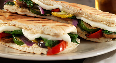 Grilled Veggie Pita Press with Queso Fresco and Hummus