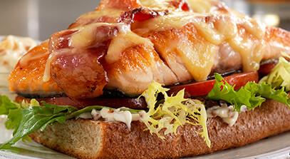 Open-Faced Salmon BLT Sandwich