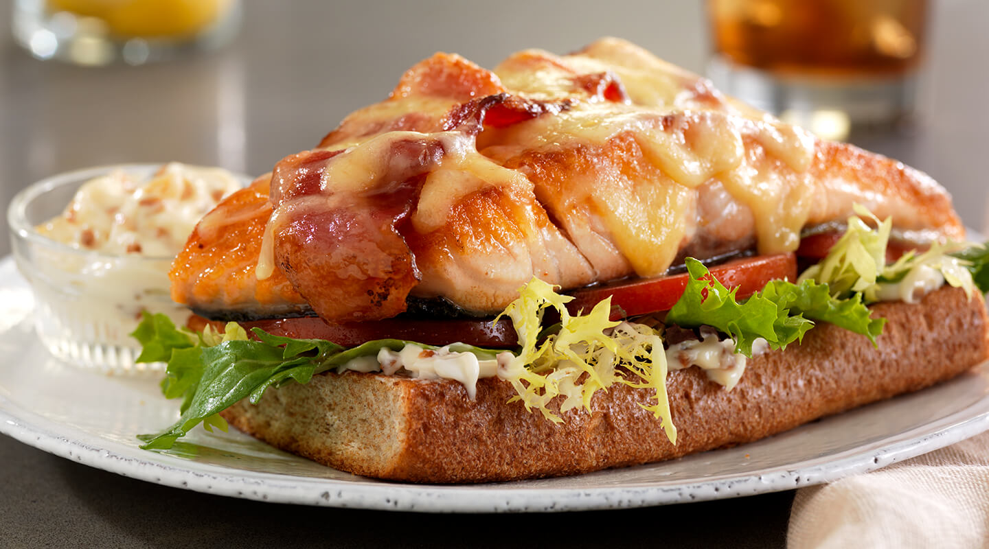 Wisconsin Cheese Open-Faced Salmon BLT Sandwiches Recipe