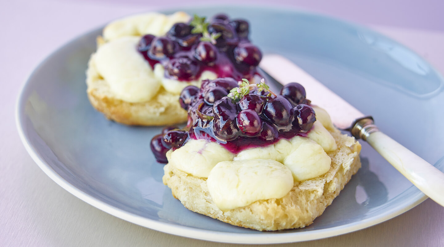 Cheese Curds and Biscuits with Blueberry Preserves
