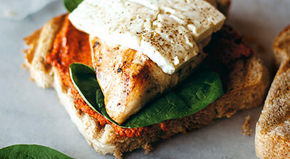 Grilled Chicken Sandwiches with Feta and Muhammara