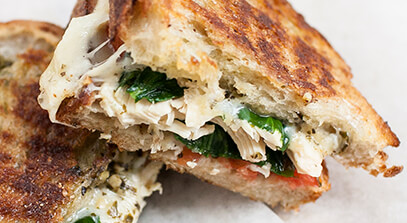 shredded chicken and pesto grilled cheese