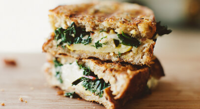 The Sophia: Alpine-Style Grilled Cheese with Sautéed Swiss Chard and Apples